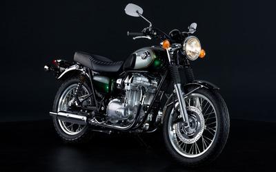 Black Kawasaki W800 side view Wallpaper