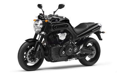 Black Yamaha MT-01 front side view wallpaper
