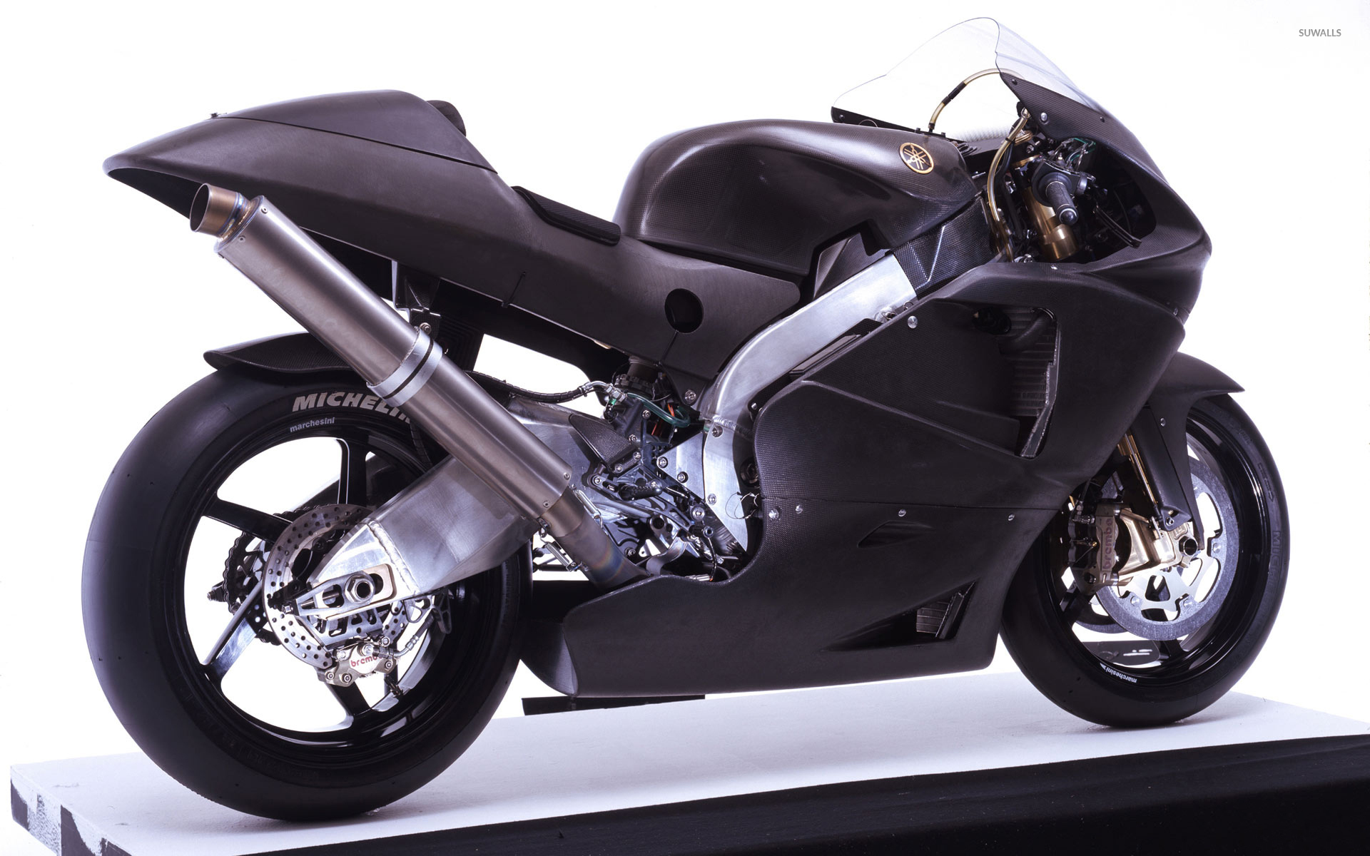 black yamaha yzr-m1 side view wallpaper - motorcycle wallpapers - #52953