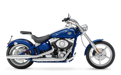 Blue 2008 Harley-Davidson side view wallpaper