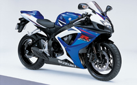 Front side view of a blue Suzuki GSX-R750 wallpaper 1920x1200 jpg