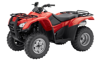 Front side view of a red Honda all-terrain wallpaper