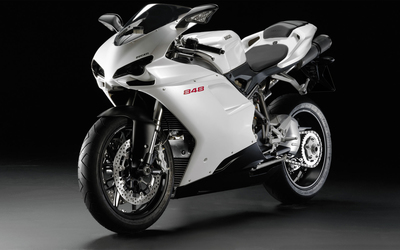 Front side view of a white Ducati 848 wallpaper