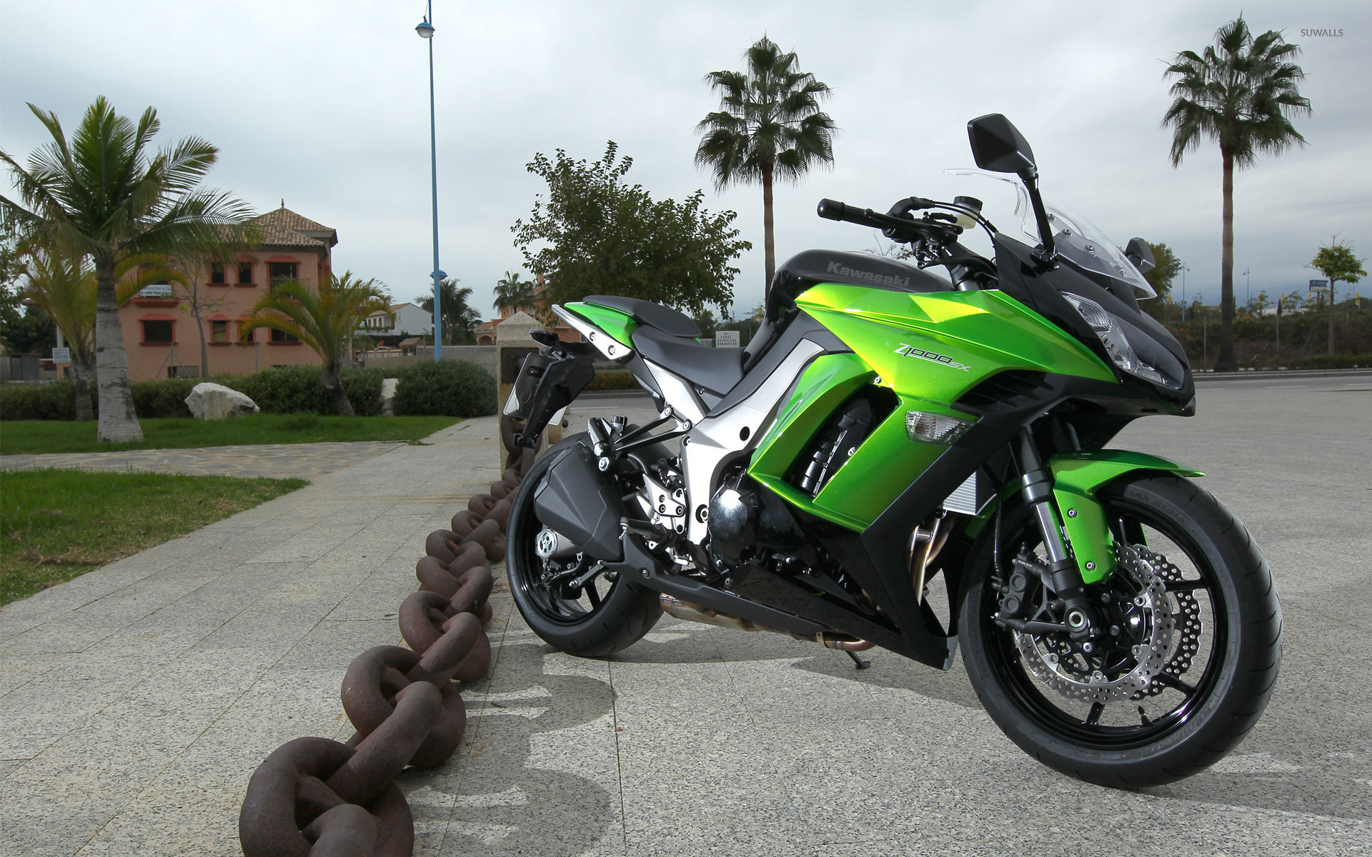 Green Kawasaki Z1000 SX Front Side View Wallpaper