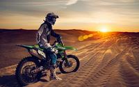 Kawasaki dirt bike in the desert wallpaper 1920x1200 jpg