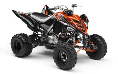 Orange Yamaha Raptor 700R front side view Wallpaper