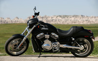 Parked black Harley-Davidson side view wallpaper 1920x1200 jpg