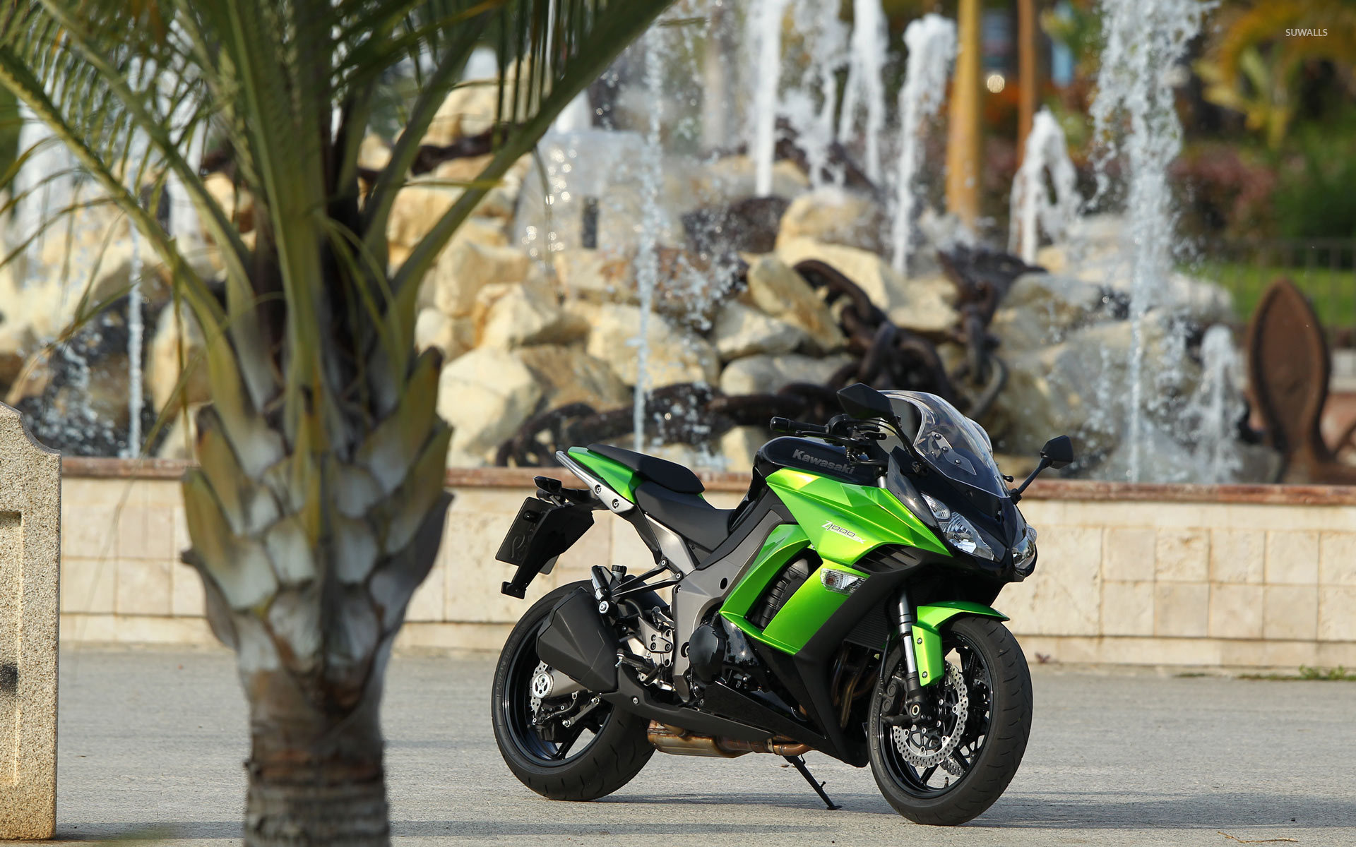Parked Green Kawasaki Z1000 SX Wallpaper