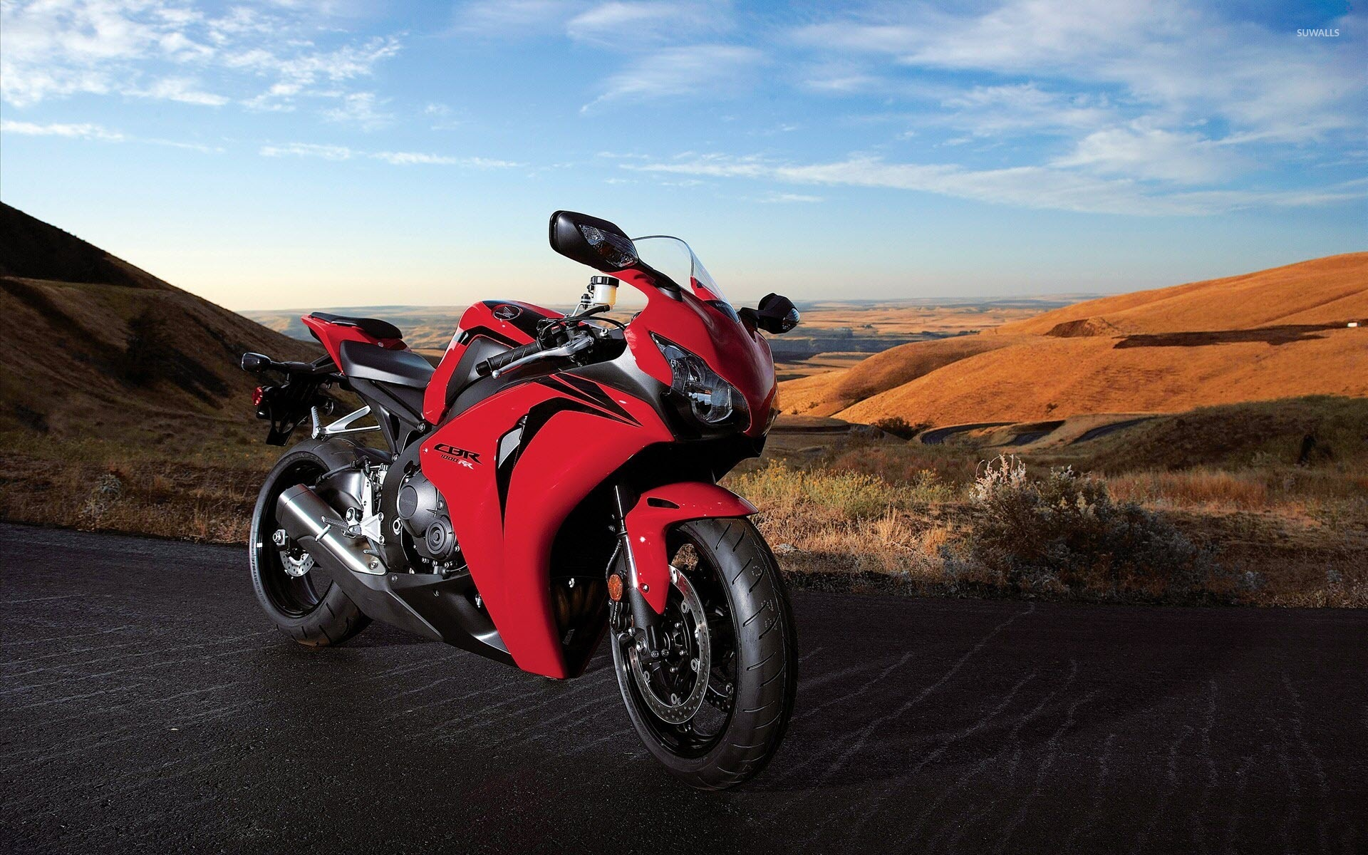 red honda cbr1000rr on a hill wallpaper - motorcycle wallpapers - #53997