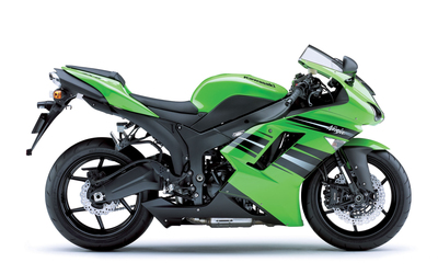 Side view of a green Kawasaki Ninja ZX-6R wallpaper