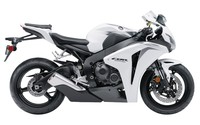 Side view of a white 2009 Honda CBR1000RR wallpaper 1920x1200 jpg
