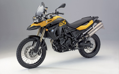 Yellow BMW F800GS front side view wallpaper