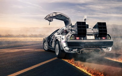 DeLorean time machine wallpaper