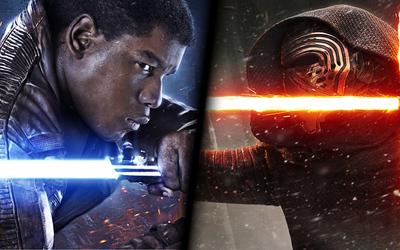 Finn vs Kylo Ren in Star Wars: The Force Awakens wallpaper