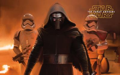 Kylo Ren and stormtroopers - Star Wars: The Force Awakens wallpaper