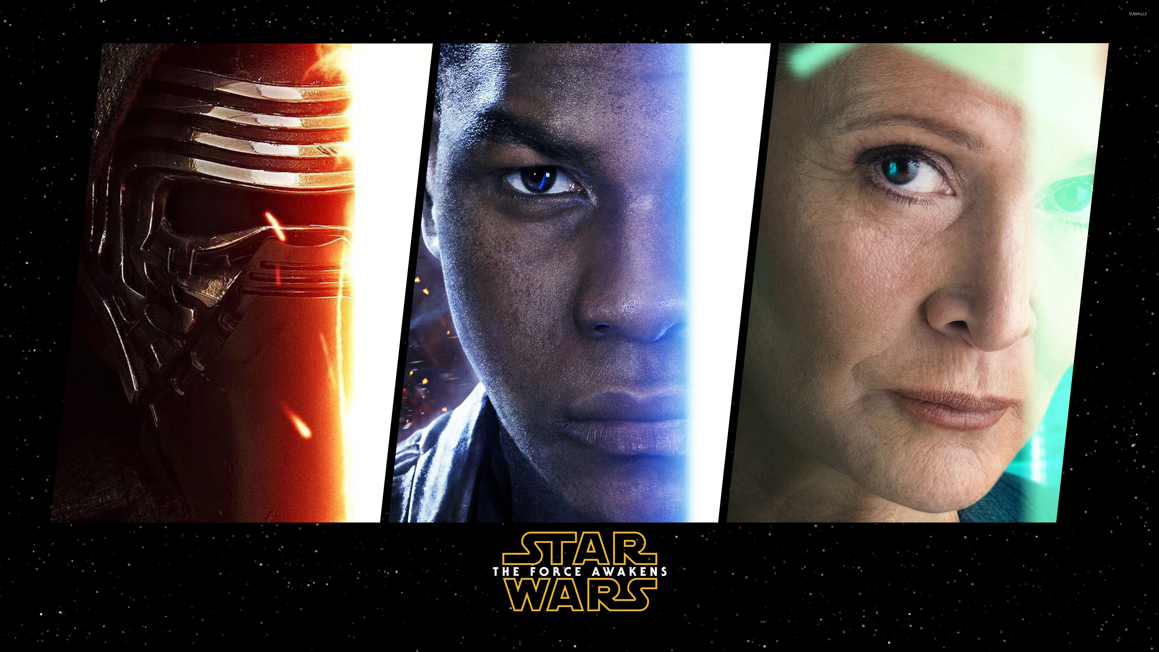 Kylo Ren Finn And Leia In Star Wars The Force Awakens Wallpaper