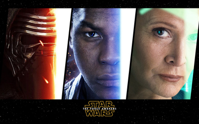 Kylo Ren, Finn and Leia in Star Wars: The Force Awakens wallpaper