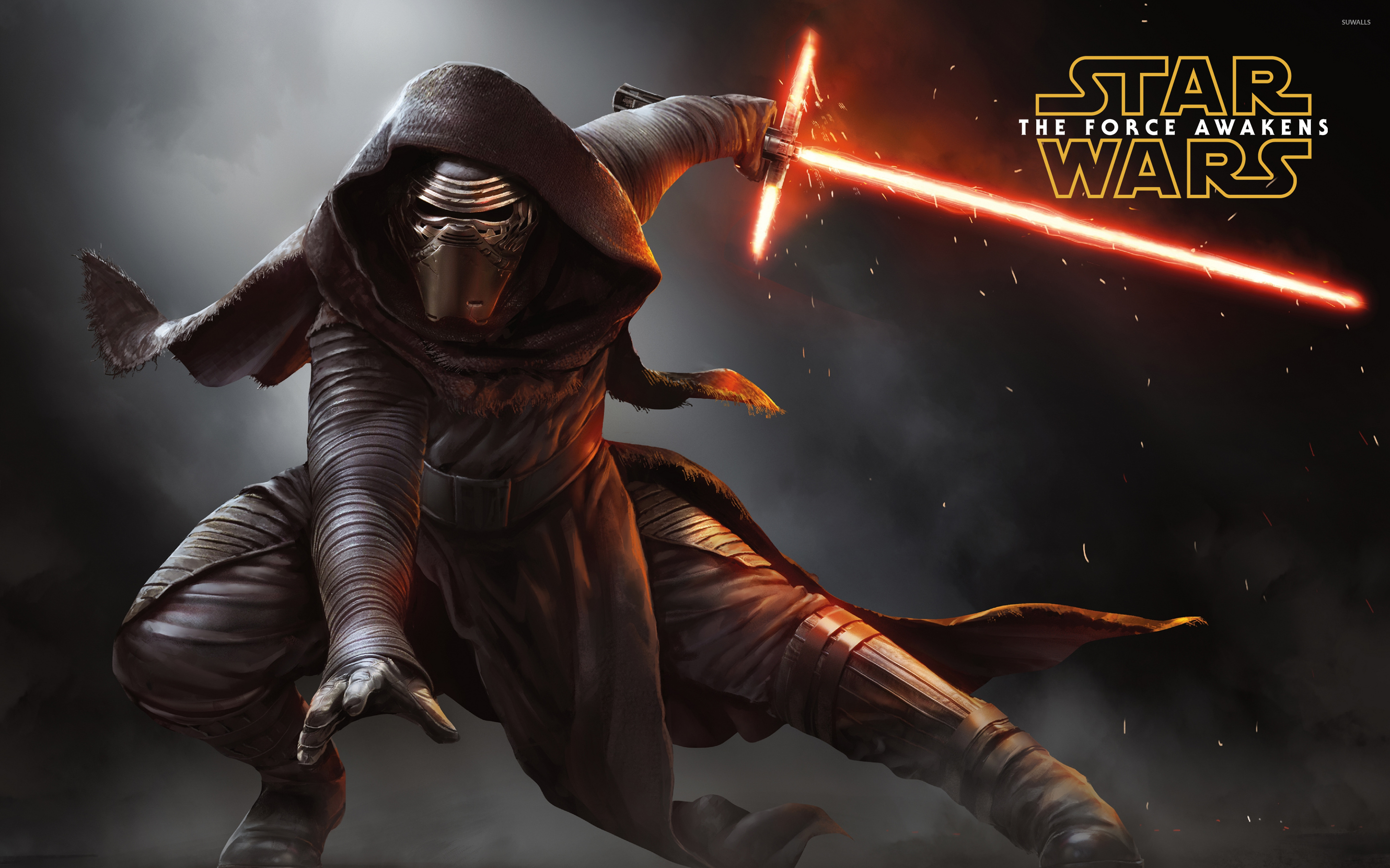 Kylo Ren With A Lightsaber Star Wars The Force Awakens