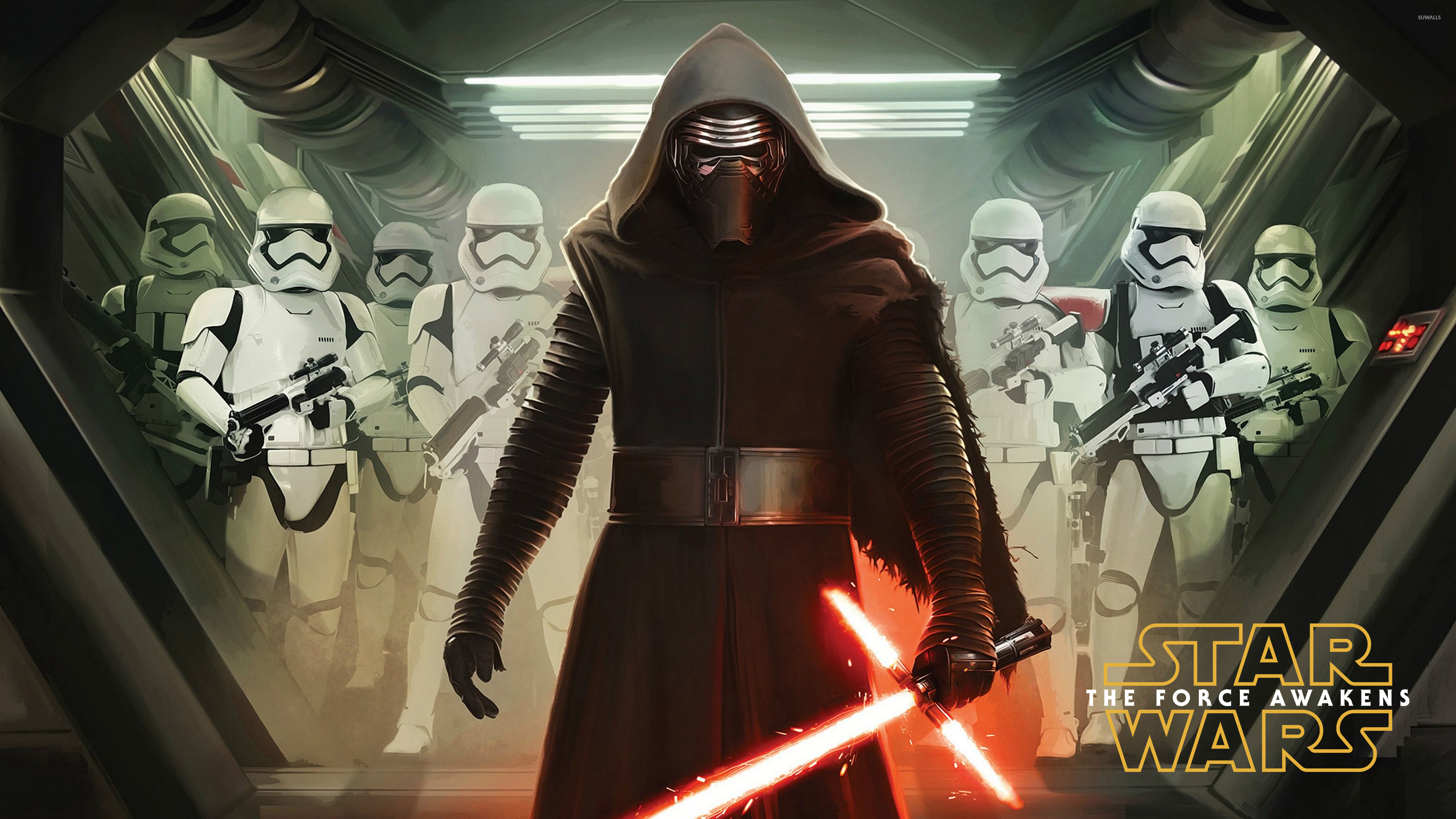 Kylo Ren With Stormtroopers Star Wars The Force Awakens Wallpaper Movie Wallpapers 51516