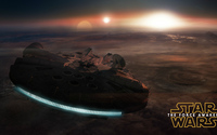 Millennium Falcon in flight - Star Wars: The Force Awakens wallpaper 3840x2160 jpg