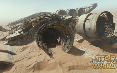 Millennium Falcon in Star Wars: The Force Awakens wallpaper