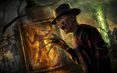 Scary Freddy Krueger in A Nightmare on Elm Street wallpaper