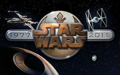 Star Wars metallic logo wallpaper