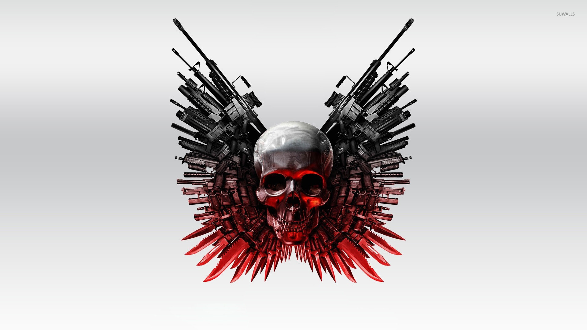 the expendables 2 skull and guns wallpaper - movie wallpapers - #53468