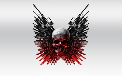 The Expendables 2 skull and guns wallpaper
