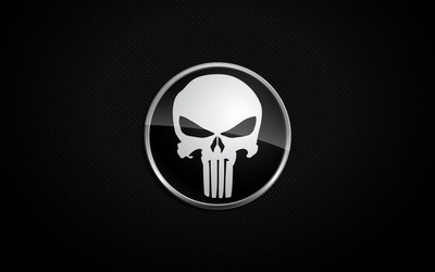 White The Punisher logo wallpaper