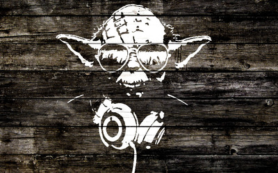 Yoda wood graffiti wallpaper