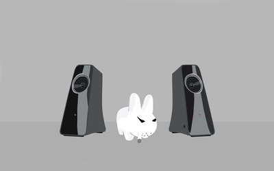 Angry bunny with speakers wallpaper