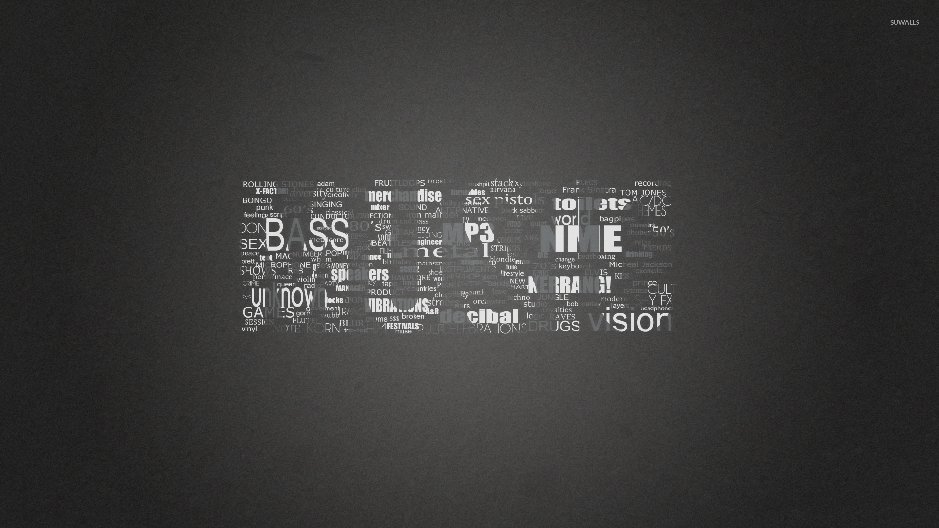 Black and white music genres wallpaper