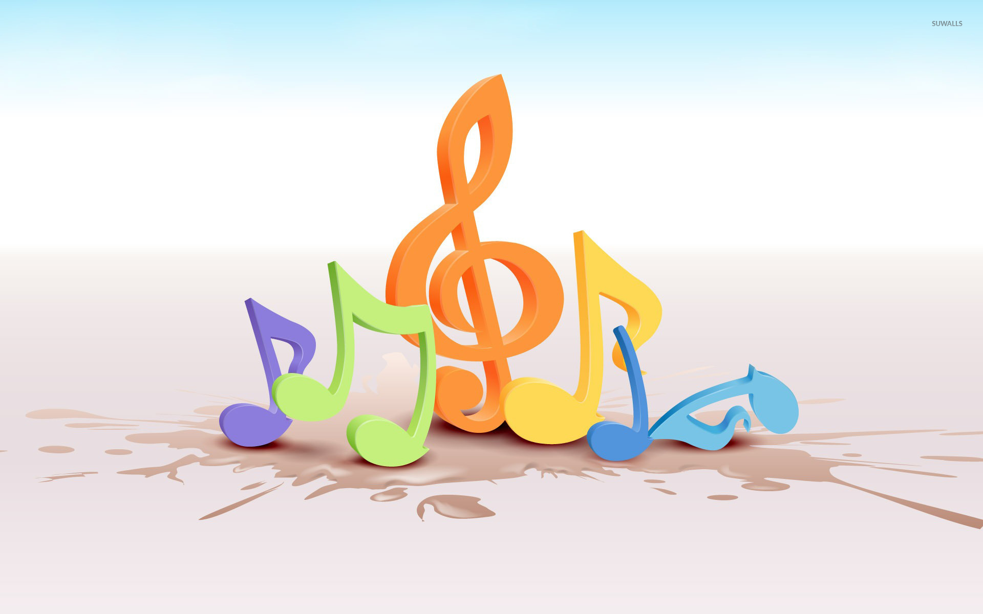Colorful Musical Notes 2 Wallpaper