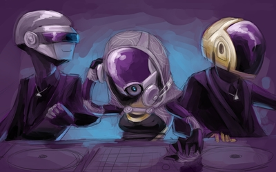 Daft Punk caricature wallpaper