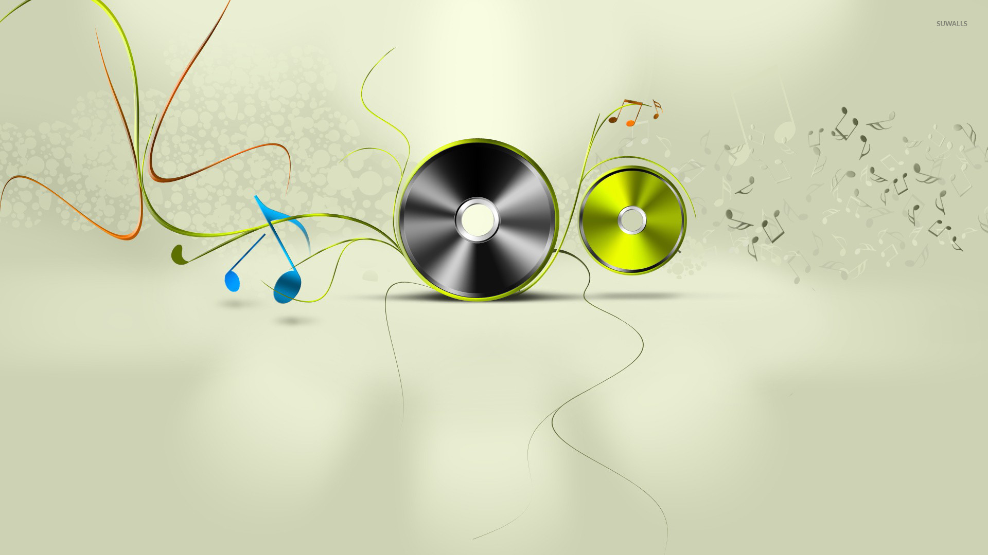 Discs And Notes Wallpaper Music Wallpapers 26249