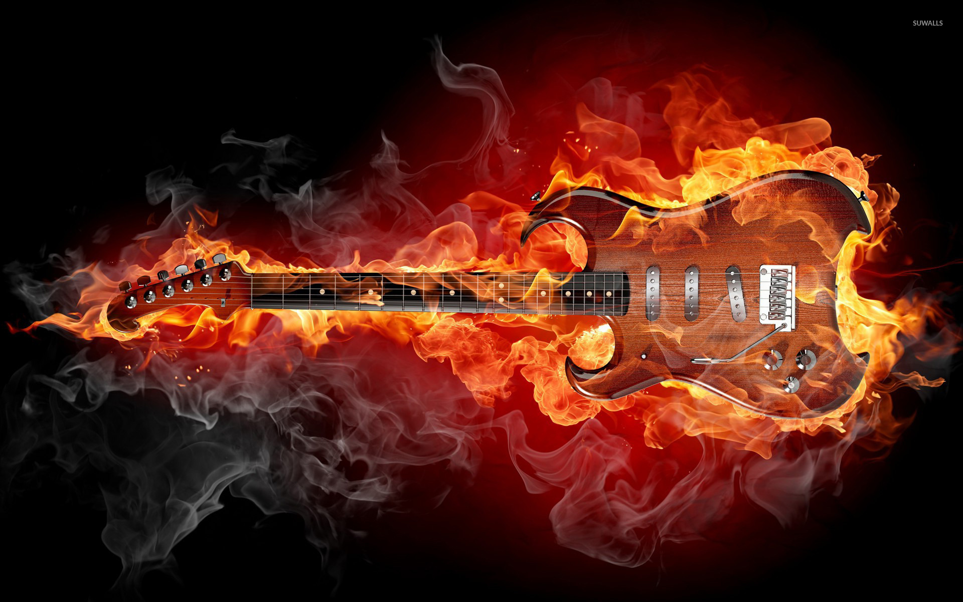 Flaming guitar wallpaper Music wallpapers 20494