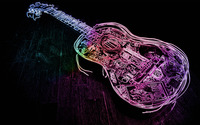 Glowing neon guitar outline wallpaper 1920x1080 jpg