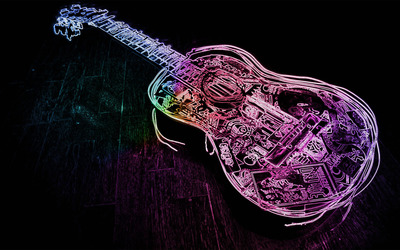 Glowing neon guitar outline wallpaper