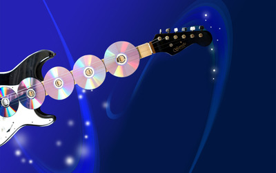 Guitar and discs wallpaper