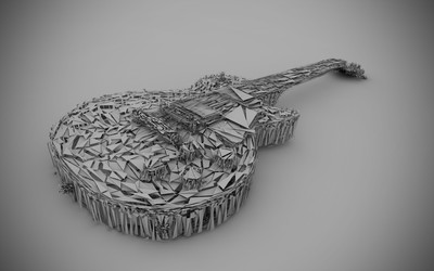 Guitar built from white triangles Wallpaper