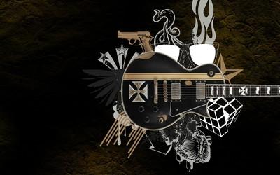 Guitar, wings, glasses and pistol Wallpaper