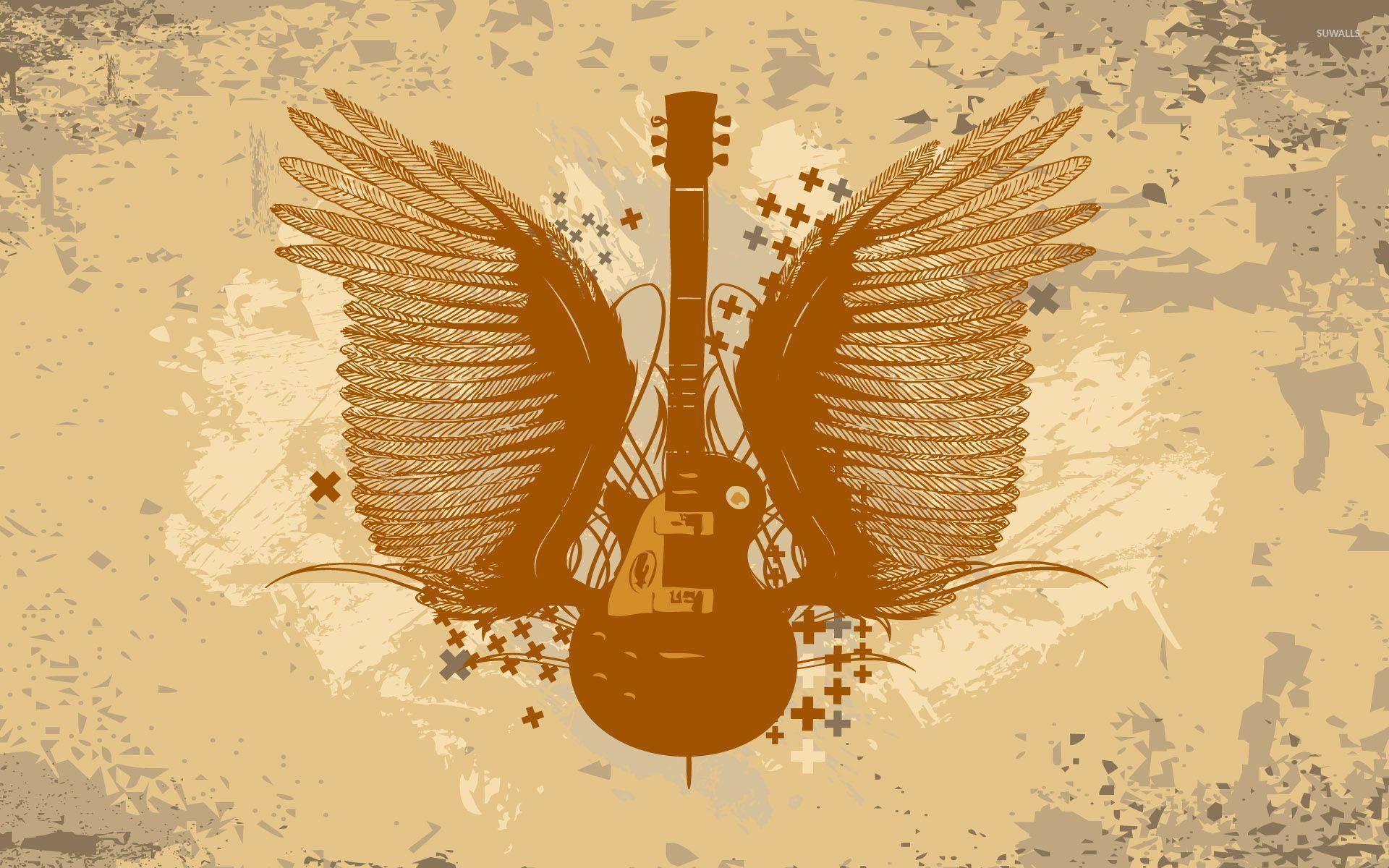 Guitar With Wings Wallpaper