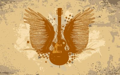 Guitar with wings wallpaper