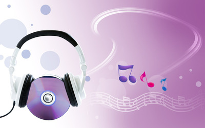Headphones on a CD wallpaper