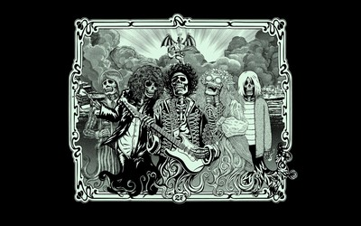 Jimi Hendrix, Kurt Cobain, Jim Morrison, Janis Joplin wallpaper
