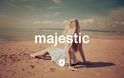 Majestic Casual logo on a blonde in a sundress wallpaper