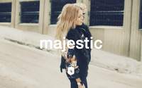 Majestic Casual logo on a sensual blonde wallpaper 1920x1200 jpg