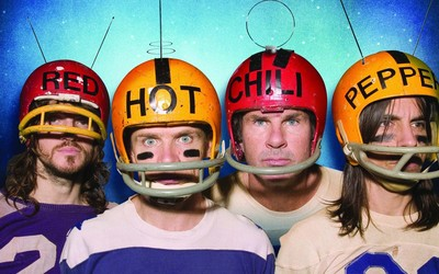 Red Hot Chili Peppers with helmets wallpaper