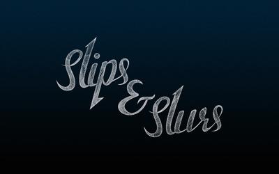 Slips & Slurs logo on blue wallpaper